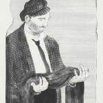 艾森曼 拿著自己影子的男人 2011 雙色版畫 56.5×46cm 紐約Jungle Press Editions印製 Courtesy the artist and Koenig & Clinton, New York
